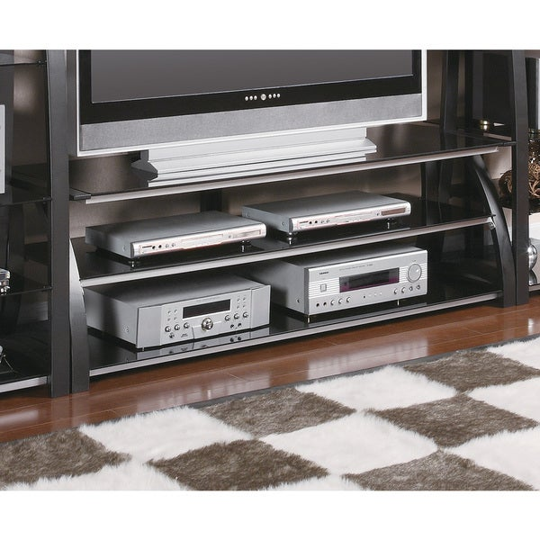 Coaster Company Black Glass Metal TV Stand