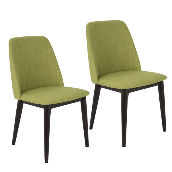 Tintori Mid-century Dining Chairs in Vintage Green Fabric (Set of 2)