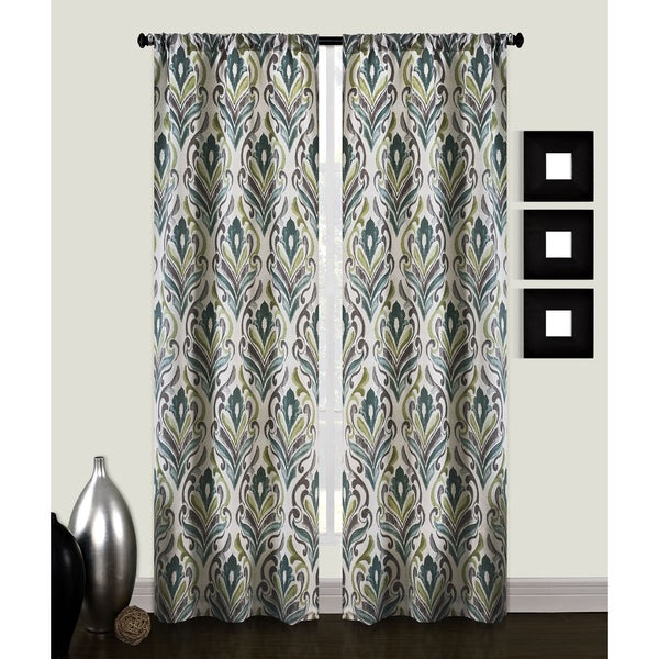 Carrera Damask 84-inches Curtain Panel Pair