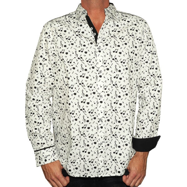 Rock Roll N Soul Men's 'Music on My Mind' White Casual Button-up Fashion Woven Shirt