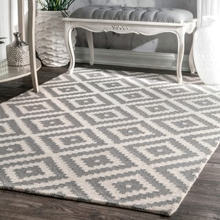 nuLOOM Handmade Abstract Wool Fancy Pixel Trellis Rug (9' x 12')