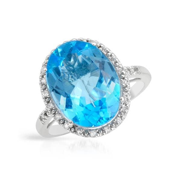 Magnolia Sterling Silver 10 5/8ct TW Topaz Ring (Size 8)