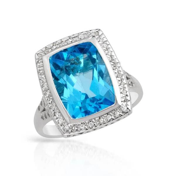 Magnolia Sterling Silver 8 1/2ct TW Topaz Ring (Size 9)