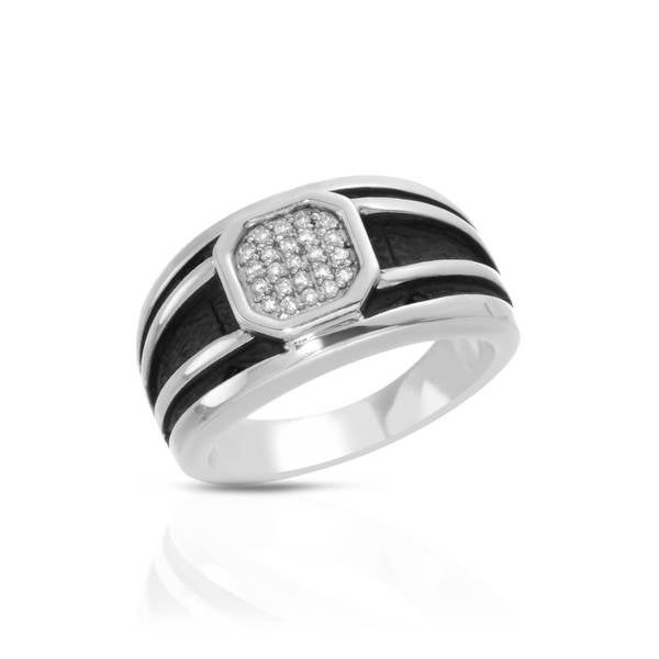 Currency Sterling Silver 1/6ct TDW Diamond Pave Ring