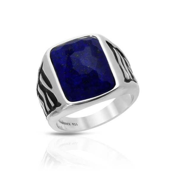 Currency Sterling Silver Men's Lapis Lazuli Ring (Size 11)