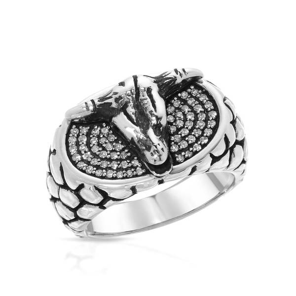 Currency Sterling Silver 1/3ct TDW Diamond Ram's Head Ring