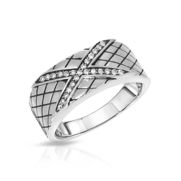 Currency Sterling Silver 1/5ct TDW Diamond Ring (Size 11)