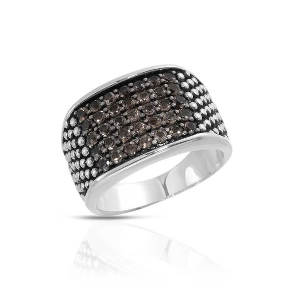 Currency Sterling Silver Men's Crystal Ring (Size 11)