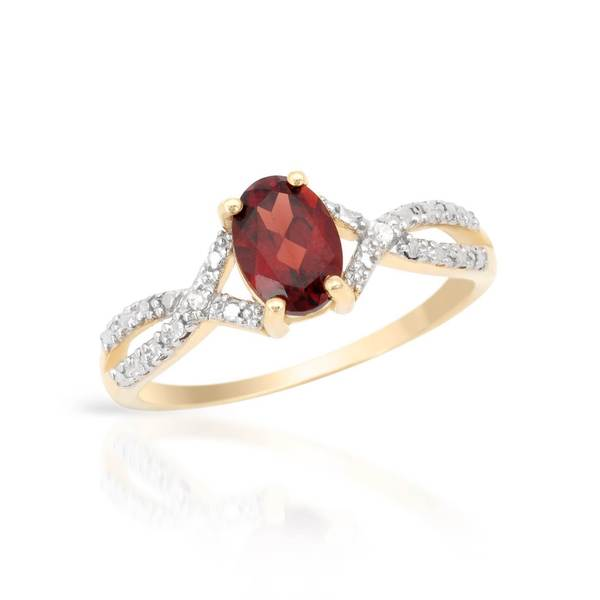 Magnolia 10k Gold 7/8ct TW Garnet Ring (Size 5)