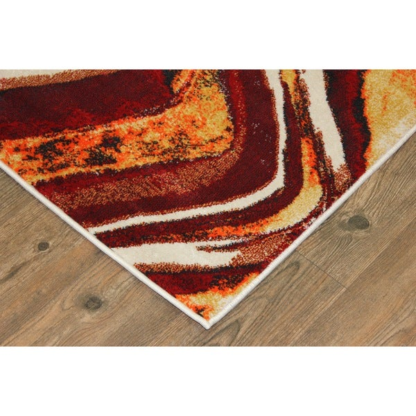 Make in Turkey Red, Yellow, Orange, Off-Wite Area Rug (2'7 X 5')