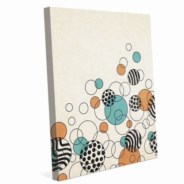 Rising Orange and Teal Bubbles Graphic on Canvas