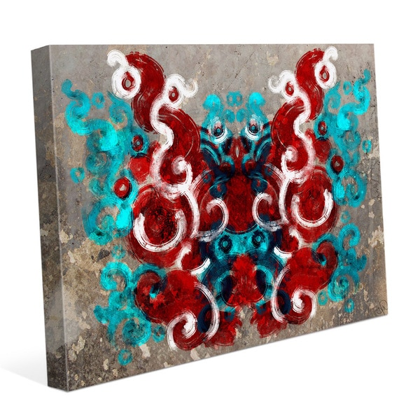 Rorschach Moth Urban Brown- Cyan Red Graphic on Canvas