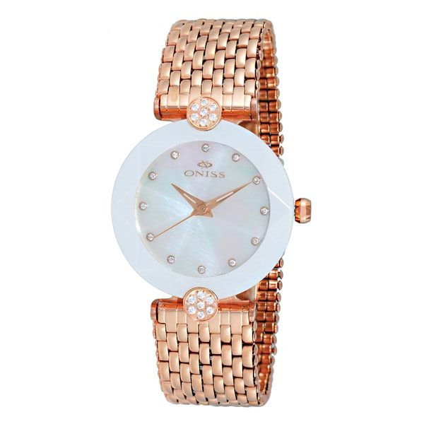 Oniss ON8777 Ladies Swiss -inchFacet II-inch All Stainless Steel Watch-Rose tone/White