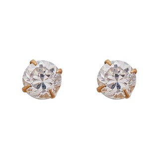 Decadence 14k Yellow Gold 3-millimeter Round Solitaire Ball Stud Earrings
