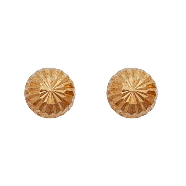 Decadence 14k Yellow Gold Diamond-cut 3.5-millimeter Half-ball Ball Stud Earrings