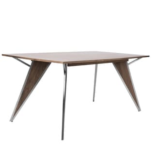 Tetra Stainless Steel and Walnut Wood Dining Table