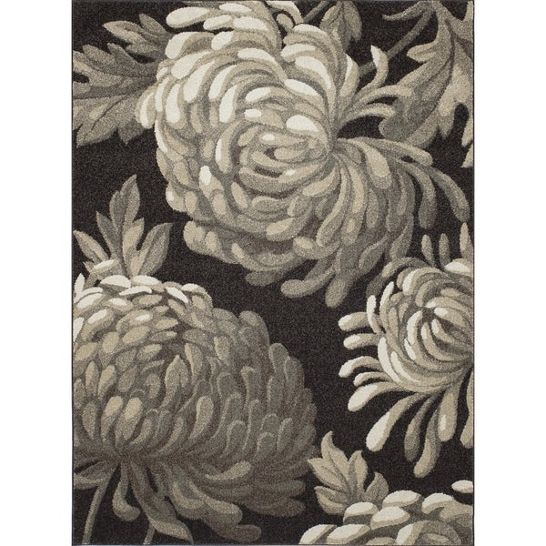 Machine-made Contempra Collection Mums Brown Polypropylene Rug (2'7X4'1)