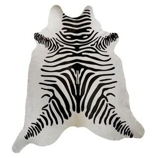 Zebra Print White Leather Hide Area Rug (Brazil)