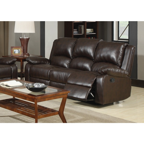 Brown Bonded Leather Recliner Sofa