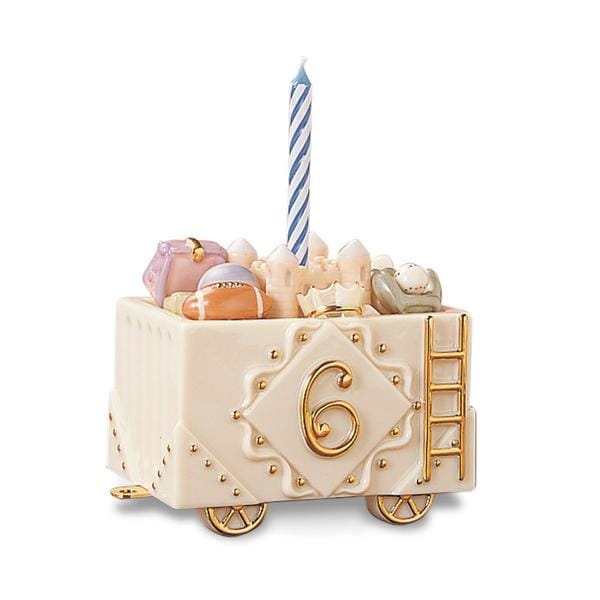 Lenox Porcelain/24k Gold Sensational Sixth Birthday Train Car Figurine