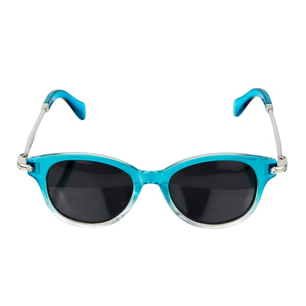 Crummy Bunny Polarized Aqua and Silver Retro Style Glasses for Junior Boys and Girls