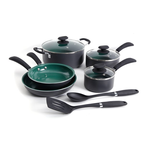 Gibson 10-Piece Eco Friendly Cookware Green