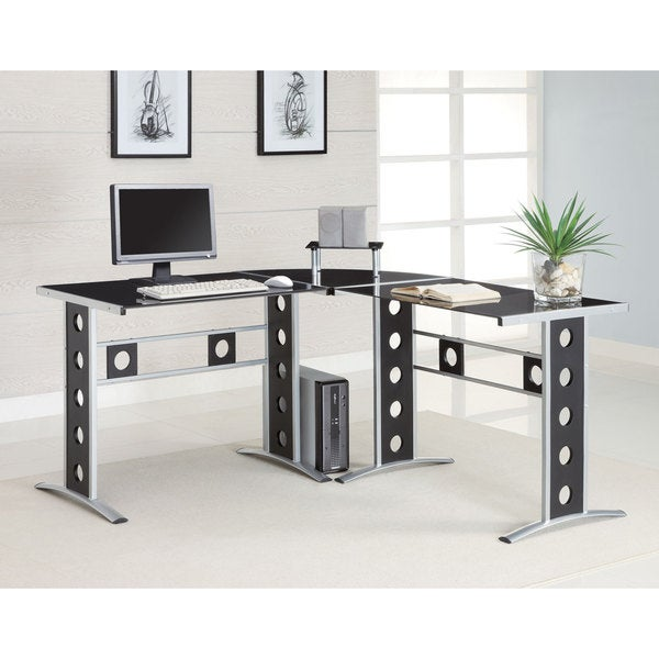 Black Glass Silver Frame Corner Computer Desk