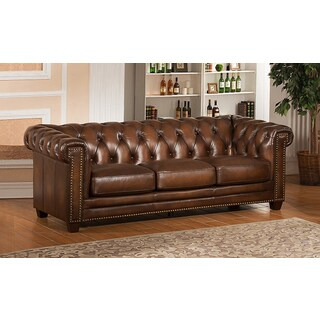 Hickory Brown Genuine Hand-Rubbed Leather Chesterfield Sofa