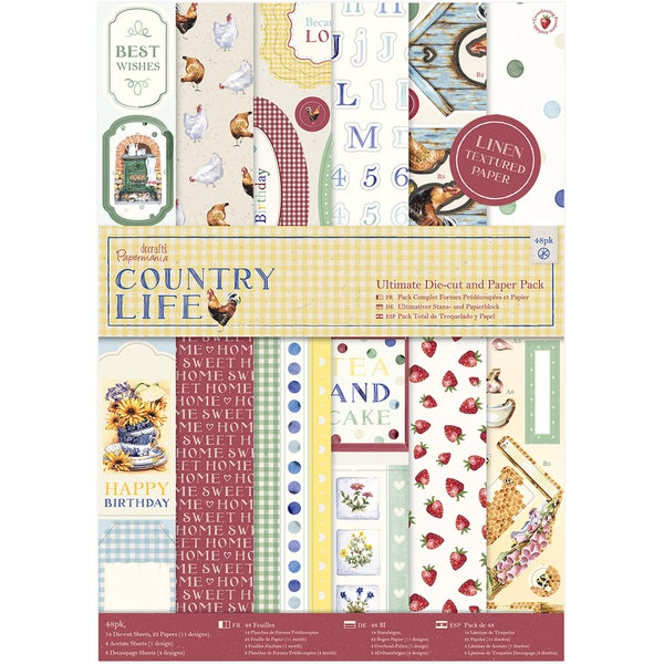 Papermania Ultimate A4 Die-Cuts & Paper Pack 48/Pkg Country Life, Linen Finish