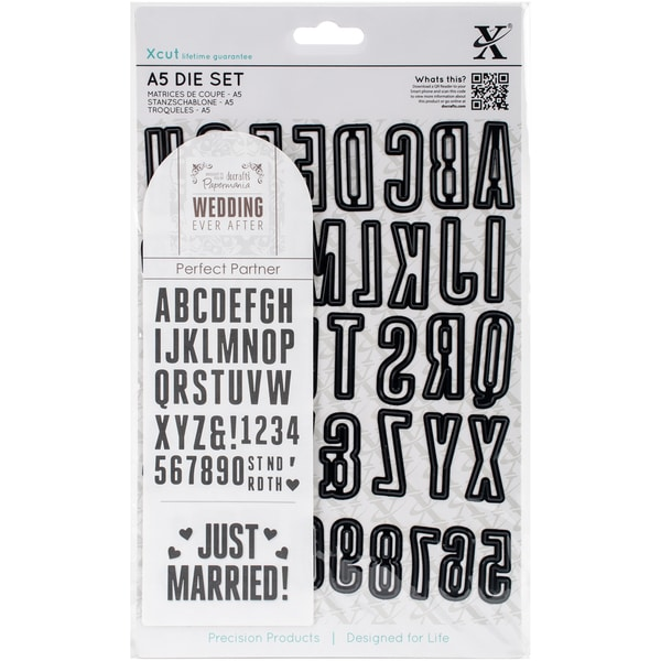 Xcut A5 Die Ever After Wedding Alpha & Numbers