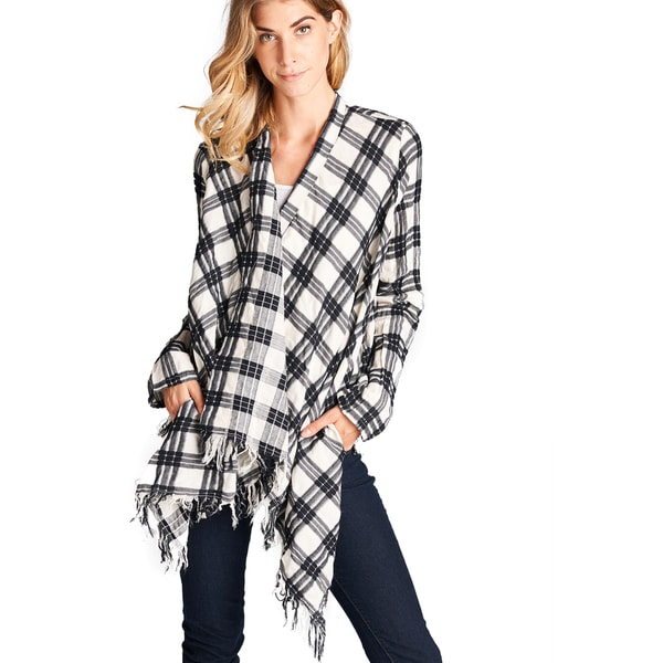 Orange Creek Checkered Fringed Cardigan