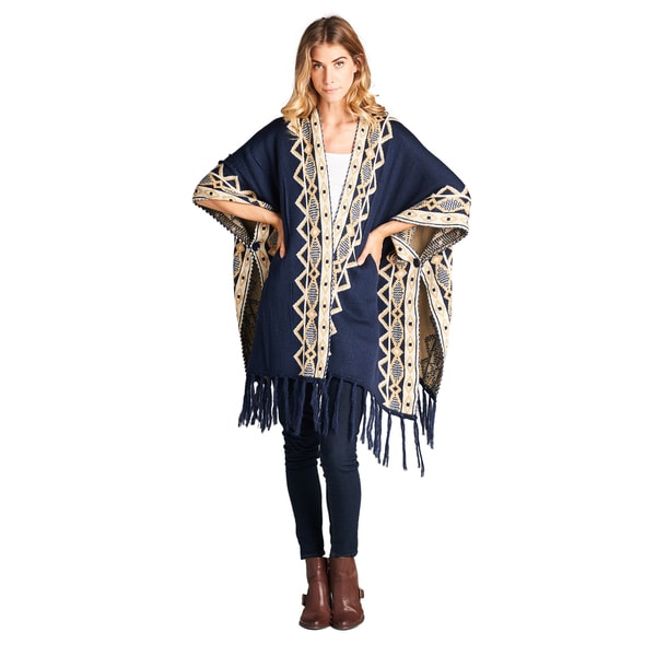 Orange Creek Women's Aztec-print Fringe-hemmed Cardigan