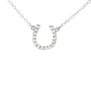 H Star 14k White Gold 1/10ct TDW Diamond Horseshoe Necklace (H-I, I1-I2)