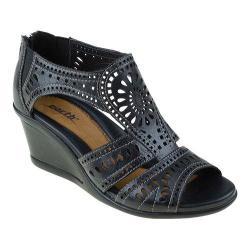 Women's Earth Crown Wedge Sandal Black Soft Calf Leather