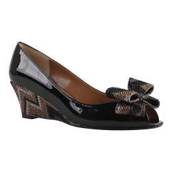 Women's J. Renee Blare Wedge Black/Bronze Faux Patent/Metallic Chevron Fabric