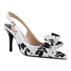 Women's J. Renee Charise Slingback Black/White Floral Lace Fabric/Faux Patent