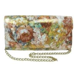 Women's J. Renee CL051 Clutch Neutral Multicolored Pebble Floral Print Fabric