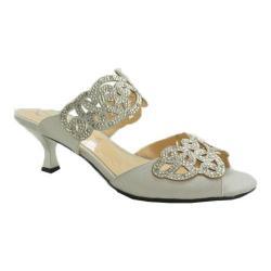 Women's J. Renee Francie Dress Slide Silver Satin/Rhinestones