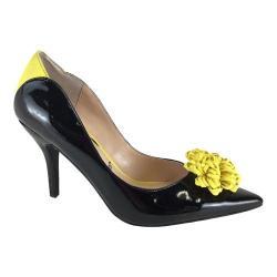 Women's J. Renee Ranita Pump Black/Yellow Faux Patent Leather/Microsuede