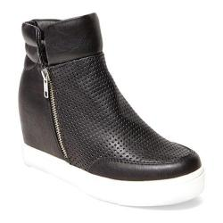Women's Steve Madden LinqsP Quilted Wedge Sneaker Black Synthetic