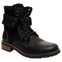 Men's Steve Madden Splinter Lace-Up Boot Black Leather/Canvas