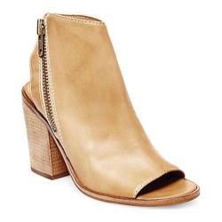 Women's Steve Madden Terraa Peep Toe Bootie Natural Leather