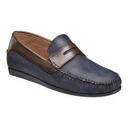 Men's Florsheim Surface Moc Toe Penny Loafer Navy Milled Nubuck/Brown Smooth Leather