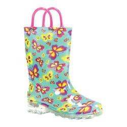 Girls' Western Chief Flutter Fierce Lighted Rain Boot Teal