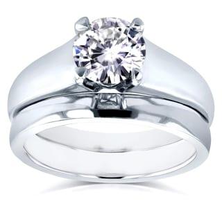 Annello 14k White Gold 1ct Round Moissanite Classic Solitaire Bridal Set