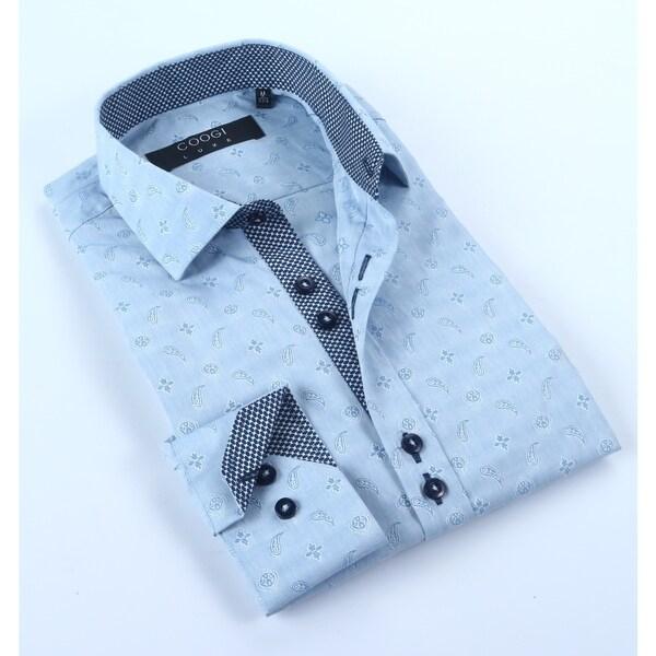 Coogi Mens Blue Paisley Dress Shirt