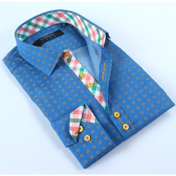 Coogi Mens Blue/Yellow Dress Shirt