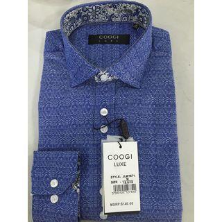 Coogi Mens Navy Patterned Dress Shirt