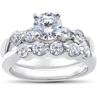 14k White Gold 2 1/4ct TDW Diamond Clarity Enhanced Wedding Engagement Ring Set (I-J,I2-I3)