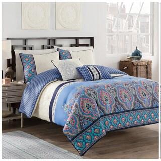 Malia Blue/ Ivory 5-piece Comforter Set